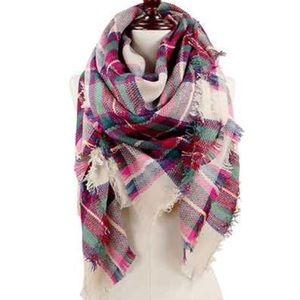 Accessories - Plaid Blanket Scarf - Multicolor